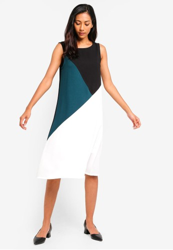 ZALORA BASICS multi Basic Triangle Colourblock Dress 2CB4EAA41E4BDDGS_1