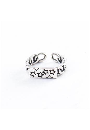 OrBeing 白色 Premium S925 Sliver Geometric Ring 5DC13ACEFD1ED5GS_1