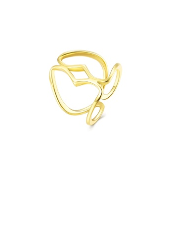 Glamorousky silver Simple and Fashion Plated Gold Line Adjustable Split Ring B1D1EACCF365C5GS_1