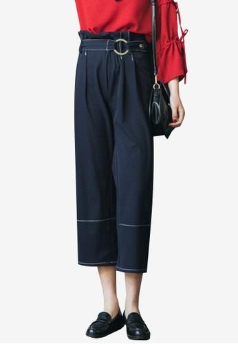 Shopsfashion blue Straight Legged Cropped Pants With Belt E809FAA16CEA87GS_1