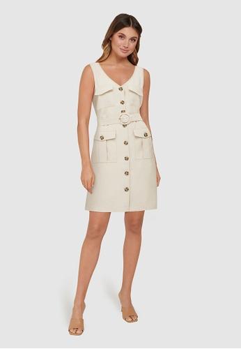 Forever New beige Brianna Utility Mini Dress F45B6AA584FC5FGS_1