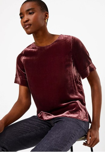 MARKS & SPENCER red Velvet Relaxed Fit T-Shirt 08366AA6345F65GS_1