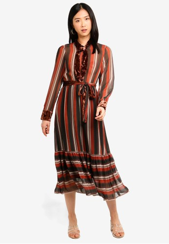 bYSI multi and brown Velvet Neck Tie Stripe Dress 0CC7DAA80C1365GS_1