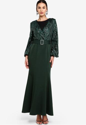 Zalia green Overlay Sequin Dress 946C4AA879DDA8GS_1