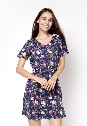 nicole blue and navy V-Neckline Short Floral Printed Dress 8A6C8AAEBFAFCFGS_1