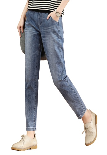 A-IN GIRLS blue Jeans With Elastic Waist 2683CAABF8F2DFGS_1