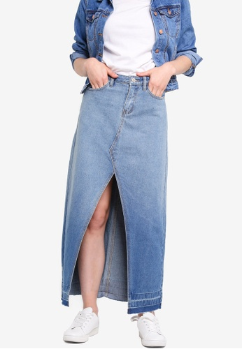 Something Borrowed blue Maxi Slit Denim Skirt ED4B1AA9607100GS_1