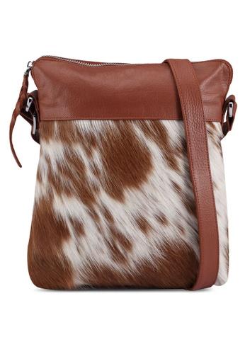Miajee's brown Skin Hide leather Cross Body Messenger Bag - Brown A13BBAC906D27DGS_1