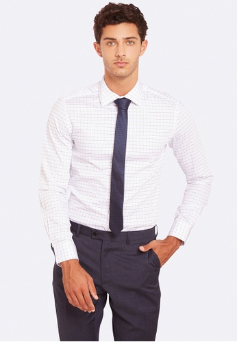 Oxford white and blue Beckton Checked Shirt  8FCEFAA4D78495GS_1