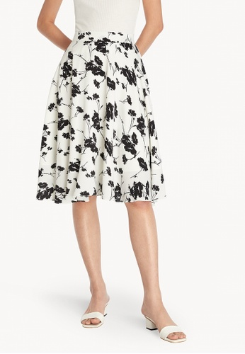 Pomelo white Floral Pleated Flare Skirt - White 315B6AA71416BEGS_1