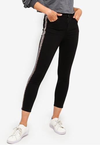 TOPSHOP 黑色 Petite Side Stripe Jamie Jeans ABA24AA0AB5321GS_1