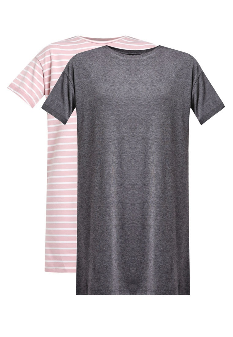 Essential Stripe Grey ZALORA White Shirt 2 amp; Pink Pack Dark Dress T BASICS Marl 58p8FXO