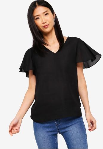 ZALORA BASICS black Basic Wide Sleeves Blouse D40F8AAD4BF508GS_1