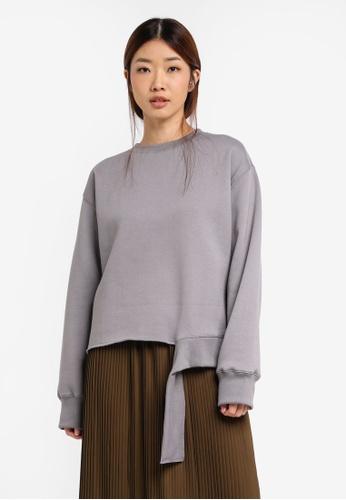 Stylenanda grey Sweatshirt With Unfinished Hem ST343AA0SXJFMY_1