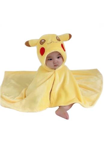 Kiddies Crew white and yellow and multi Cartoon Hoodie Cape Towel/ Blanket/ Jacket (Pokemon Pikachu) DA15FKC523F61EGS_1
