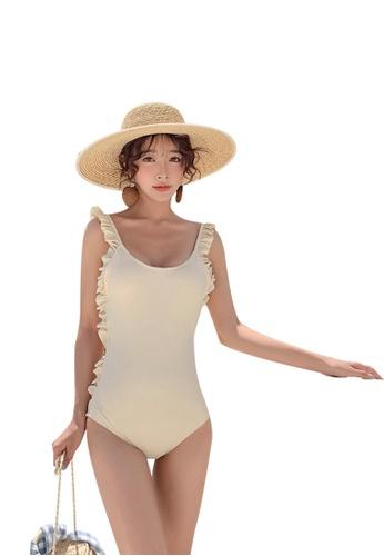 wholesale dealer 26f3c 1493c Plain One Piece Swimsuit - Beige
