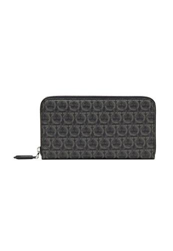 Salvatore Ferragamo black Salvatore Ferragamo Gancini Zip Around Wallet in Black/Grey 44896ACDE9DF4BGS_1