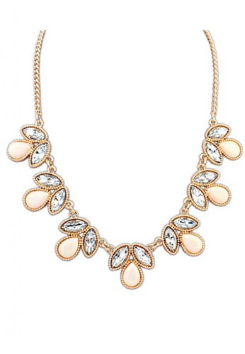 LOVENGIFTS white and gold and beige LOVENGIFTS Tear Drop Crystal Statement Necklace (Ivory) LI189AC50SVXMY_1