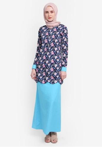 Azka Collection blue and multi Scallop Modern Kurung E7075AAB8D1600GS_1