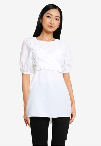 Heather white Back Tie Top 22397AAACAEFA4GS_1