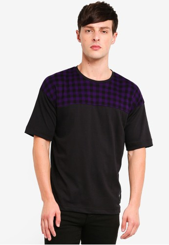 UniqTee purple Checkered Colourblock Tshirt 894CBAA27DFCE0GS_1