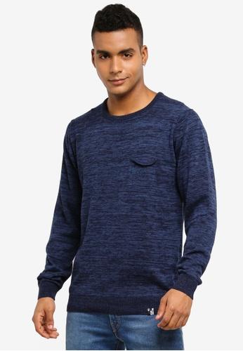 Indicode Jeans 海軍藍色 長袖混色針織毛衣 21237AABCCB435GS_1