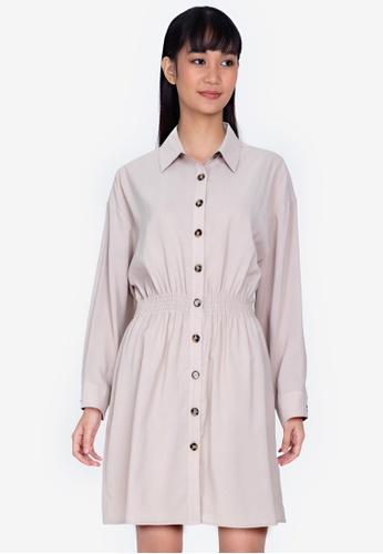 ZALORA BASICS beige Smoked Waist Long Sleeves Dress F02BFAA3F2D9B6GS_1