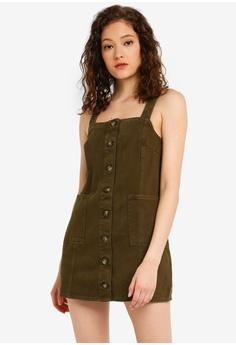 a0ea26d900 Miss Selfridge green Petite Khaki Pinafore Dress C6DBCAA9DFEDBCGS 1
