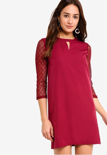 ZALORA red Lace Sleeves Dress EE80FAA4781E7DGS_1