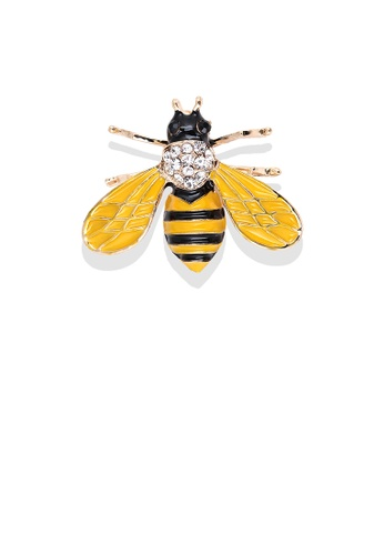 Glamorousky white Simple and Lovely Plated Gold Enamel Yellow Bee Brooch with Cubic Zirconia 278E9ACA9A1EA0GS_1