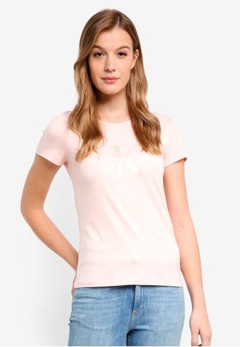 Calvin Klein pink A-Satin Monogram Log Tee - Calvin Klein Jeans 57E59AAD65B704GS_1