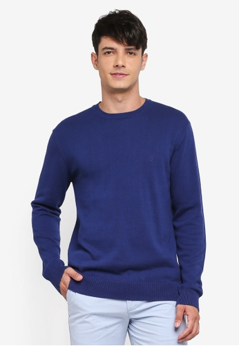 French Connection blue Simple Cotton Knit Sweater FBED5AA39F6381GS_1