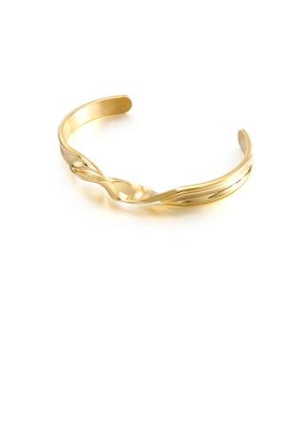Glamorousky silver Simple Temperament Plated Gold Geometric Twist 316L Stainless Steel Bangle 2B377ACADEDB62GS_1