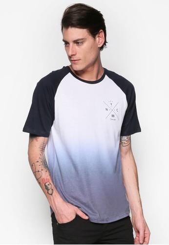 漸層色拉克蘭短esprit 台中袖TEE, 服飾, T恤