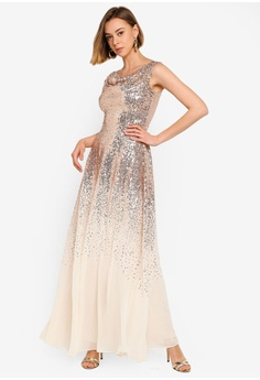 0f04edc487 25% OFF Goddiva Pleated Bodice Sequin And Chiffon Maxi Dress RM 509.00 NOW  RM 381.90 Available in several sizes