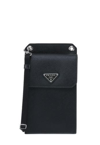 Prada black Saffiano Leather Smartphone Case Phone holder 3EC4EACD31097BGS_1