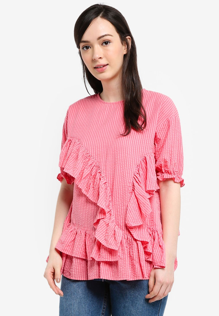 Blouse Extreme Pink Smock INK Frill LOST wW6xqSzYnH