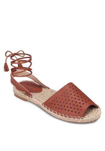 沖孔麻編繞踝涼鞋, 女zalora 包包評價鞋, 涼鞋