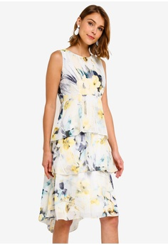 caf8cc796a Wallis yellow and multi Ivory Floral Print Layered Dress 943C7AA8BCB36CGS 1