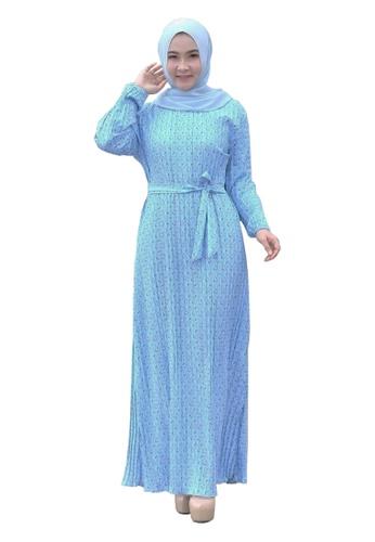 Beautika Fashion blue Platina 811 Muslimah Long Dress Jubah Pleated Pleats Floral Print Blue 97EC7AAFCAC238GS_1