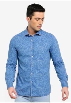 efa6e44e5e MANGO Man blue Slim-Fit Printed Denim Shirt 34517AA02D7926GS 1