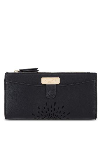 Unisa black Perforated Facile Bi-Fold Long Wallet UN821AC75EJOMY_1