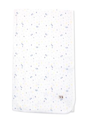 Organic mom white and blue Organic Cotton David Puppy Swadding Blanket 7B4CBKCBCB2803GS_1