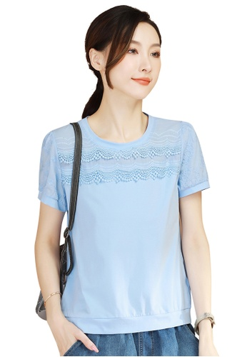 A-IN GIRLS blue Simple Lace Stitching Blouse E3001AAD19210AGS_1