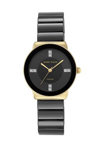 Anne Klein black and gold Anne Klein Ladies - Diamond Accented Watch - AK-2714BKGB AN844AC0RGT0MY_1