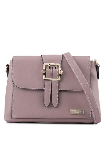Unisa purple Pin Buckle Saffiano Sling Bag UN821AC0SRVJMY_1