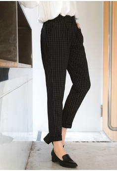 Hazy Grid Slim Trousers - Black