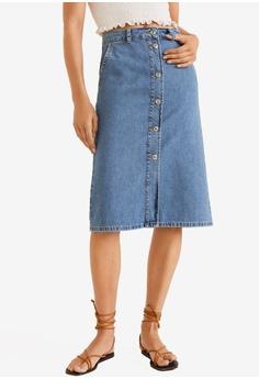17ed1e654 Mango blue Midi Denim Skirt 0A3C9AA18FFB1FGS_1