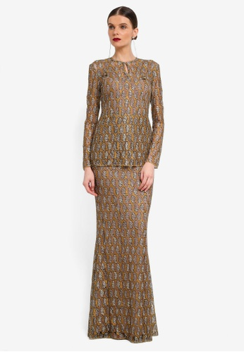 Rizalman for Zalora green and beige Slim Lace Kurung RI909AA0SF15MY_1