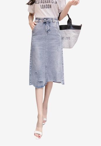 Lara blue Women Rips Denim A-line Skirt A2C96AA77795E7GS_1